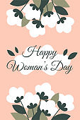Congratulatory spring card for Women's Day, March 8 with flowers. Pink square card with an inscription. Vector illustration