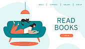 Design web page template for a website for a book store, online learning, digital library.Vector illustration in a flat style.Men and women with books in different poses