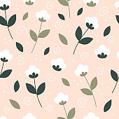 Beautiful spring seamless pattern with white flowers in a flat style. Vector illustration