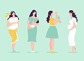 Set of young beautiful pregnant women in full growth. Women with babies. Happy motherhood concept, pregnancy planning. Vector illustration in flat style on white background.