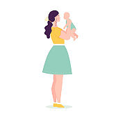 Beautiful young woman in full growth holding a baby. The concept of happy motherhood, family, love. Vector illustration in flat style on white background.