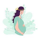 Beautiful cute pregnant woman. Concept of planning pregnancy, fertilization, conception, successful motherhood. Flat vector character
