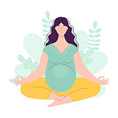 Beautiful young pregnant woman in lotus position. Yoga and sports concept for pregnant women. Vector illustration in flat style on floral background.