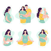 Set of Beautiful young pregnant women with man and baby. The concept of happy motherhood, family, love. Vector illustration in flat style on white background.
