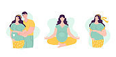 Set of Beautiful young pregnant women with man. The concept of happy motherhood, family, love. Vector illustration in flat style on white background.