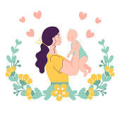 Beautiful young woman holding a baby. The concept of happy motherhood, family, love. Vector illustration in a flat style on a white background in a floral frame.