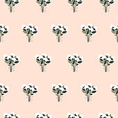 Beautiful spring seamless pattern with bouquets of white flowers in a flat style. Vector illustration