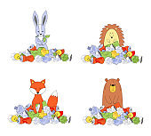 Animals in a pile of trash. Ecology concept, garbage recycling, waste disposal. Hare, bear, hedgehog, fox. Vector illustration isolated on white background.