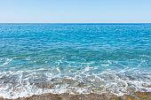 Coast of the mediterranean sea on a sunny day