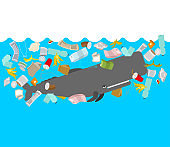 Sperm whale and garbage in ocean. cachalot and rubbish. Ocean and environment pollution concept