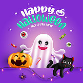Halloween character Ghost, pumpkin with typography. Halloween Background, Trick or Treat Concept, vector illustration