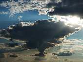 Cloudy sky. Cloud shaped borders of the country Ukraine