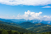 Summer nature landscape of Karpaty Mountains. a