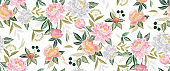Vector illustration of floral seamless pattern in spring