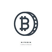 Bitcoin cryptocurrency thin line icon.