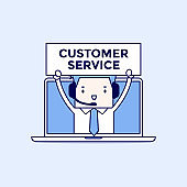Businessman with headset in a computer, customer service and technical support concept. Cartoon character thin line style vector.