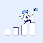 Businessman holding a flag on top the graph. Cartoon character thin line style vector.