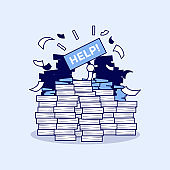 Overworked businessman under a lot of documents and holding a HELP placard. Cartoon character thin line style vector.