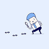 Businessman looking down at the falling arrow. Economic Collapse Definition. Cartoon character thin line style vector.
