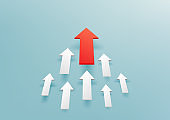 Group white 3d arrows directed upwards, progress way and forward achievement creative concept. Red arrow up to growth success.