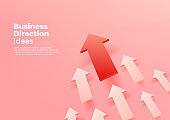 Business direction ideas. Red arrow up to growth success banner template.