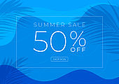 Summer sale 50% off banner template design. Swimming pool with palm leaves shadow top view background.