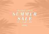 Special offer summer sale banner template. Palm leaves shadow minimal design.