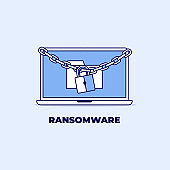 Laptop information locked with chain and padlock. Ransomware line icon design.