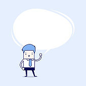 Businessman presented his idea with speech balloon. Cartoon character thin line style vector.