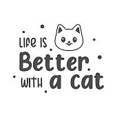 Life is better with a cat quotes. Simple kitten quotes can use for wall decoration, t shirt, and more