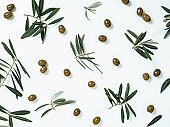 pattern with green olive and branches