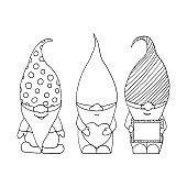 cute gnomes in hats set icon, sticker. sketch hand drawn doodle style. monochrome minimalism. scrapbook, characters.