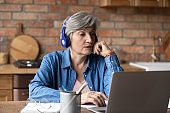 Active latin female retiree in headset confer online using laptop
