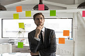 Pensive young businessman do creative thinking in office
