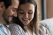 Closeup view couple in love closed eyes enjoy romantic date