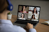 Woman talk on video call with girlfriends