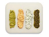 various seasoning sauces prepared for gourmets