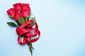 Valentines day greeting card with rose flowers