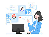 Doctor online on the internet. Woman specialist with laptop and medical data. Patient cards, statistics, indicators. Consultation, diagnostics, health advice. Vector flat illustration.
