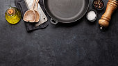 Frying pan, utensils and ingredients on kitchen table