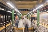 New York City subway with train