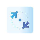 return flight gradient icon isolated on white background