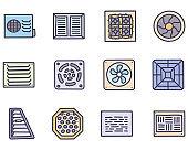 Ventilation color vector doodle simple icon set