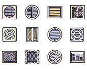 Ventilation grid color vector doodle simple icon set