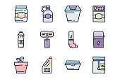 Plastic household items color vector doodle simple icon set