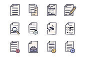 Document color vector doodle simple icon set