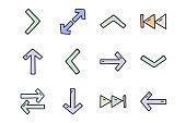 Arrows color vector doodle simple icon set