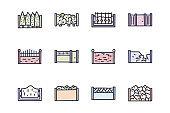 Fences color vector doodle simple icon set