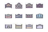 Fence color vector doodle simple icon set