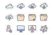 Web services color vector doodle simple icon set